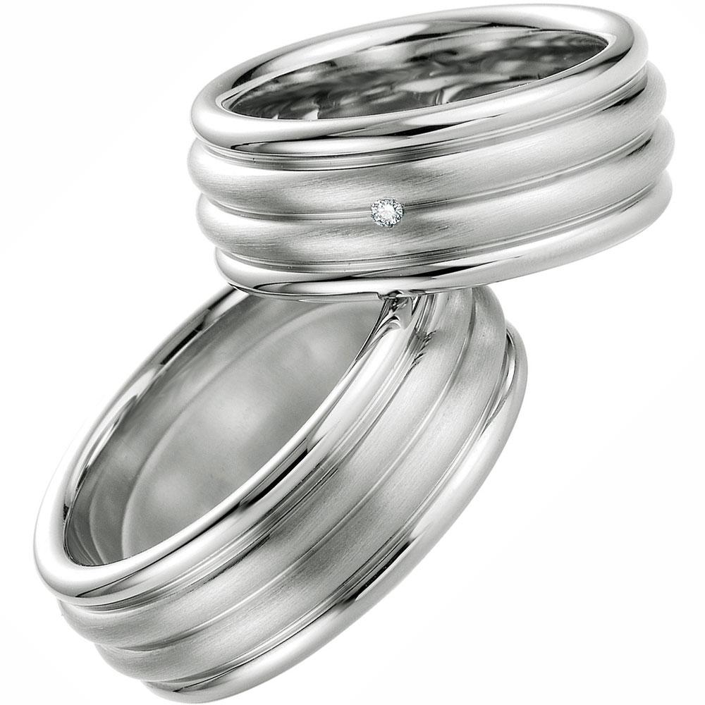 Breite Hochzeitsringe aus Silber mit Brillant