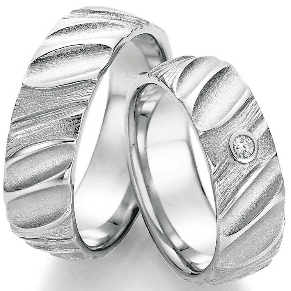 Hochzeitsringe Aus Silber Mit Tiefer Struktur