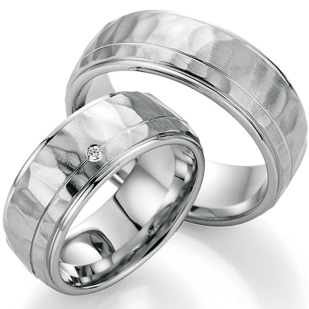Einzigartig Trauringe aus Silber mit Hammerschlag