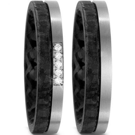 4,5 mm breites Ringpaar aus Carbon mit Titan