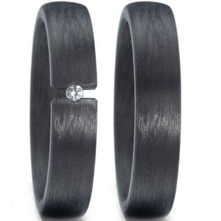 5 mm breite Eheringe aus Carbon mit Spannring