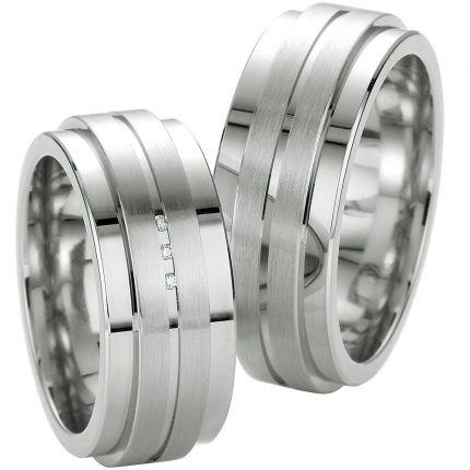 Breite extravagante Trauringe aus Silber mit Brillanten