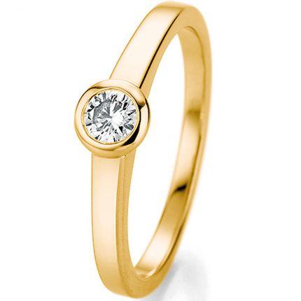 Verlobungsring Gelbgold mit einem 0,25 ct großen Brillanten in einer Zargenfassung