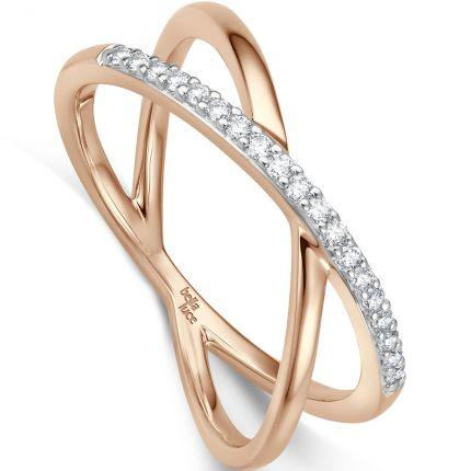 Einzigartiger Verlobungsring aus Roségold mit diagonalen Brillanten