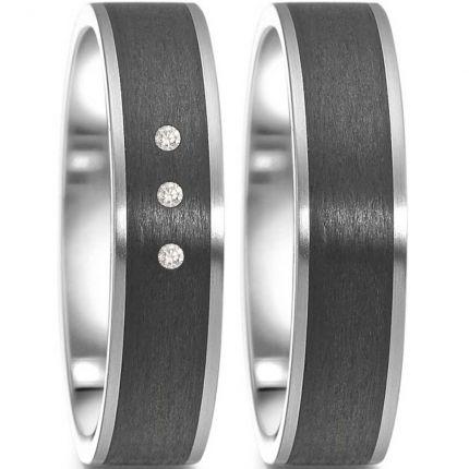 Schöne 5 mm breite Hochzeitsringe aus Edelstahl mit Carbon