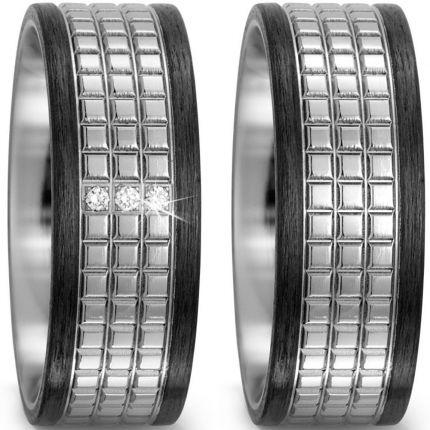 8 mm breites Ringpaar aus Titan und Carbon sowie Brillanten