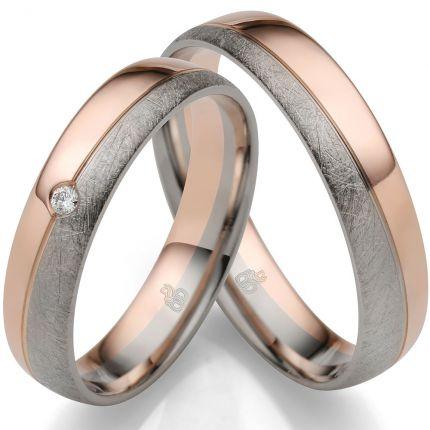 Ringe aus Weißgold und Roségold mit Brillant