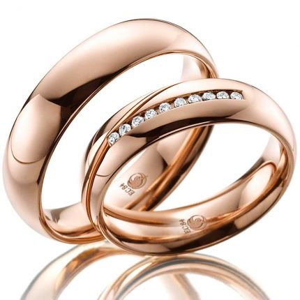 Poliertes Ringpaar aus Rotgold mit 10 Brillanten