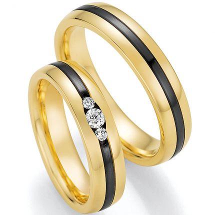 Hochzeitsringe Gelbgold mit Zirkonium und drei tollen Brillanten