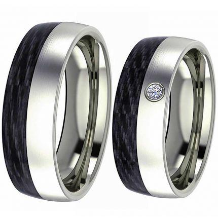 7 mm breite Hochzeitsringe aus Edelstahl mit Carbon