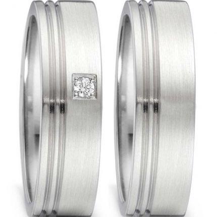 Moderne Hochzeitsringe aus Edelstahl mit zwei Rillen und Brillant