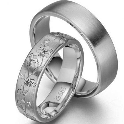 Trauringe/Partnerringe Blumenranke aus Silber