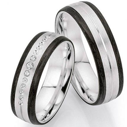 Breite Ringe aus Silber mit Carbonrändern und wahlweise 3 Brillanten