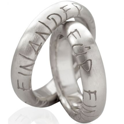 Ringpaar D-Light aus Silber mit individueller Außengravur von Claudia Schüller