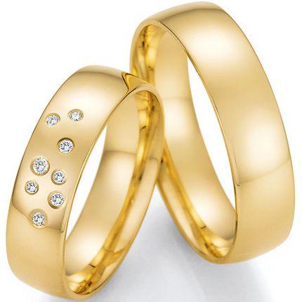klassische Polierte Hochzeitsringe aus Gelbgold mit eingeriebenen Brillanten