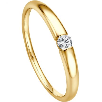 Verlobungsring - Spannring mit 0,09 ct w/si Brillanten aus Gelbgold