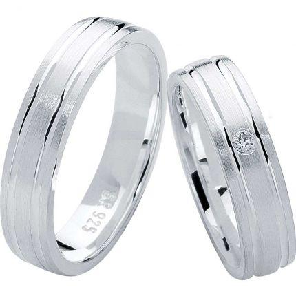 Ringpaar aus Silber mit parallelen Fugen und wahlweise Zirkonia