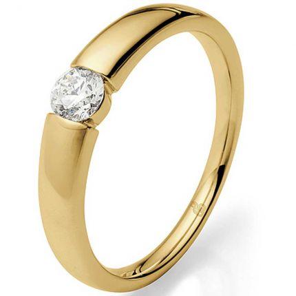 Spannring Verlobungsring mit 0,26 ct Brillanten aus Gelbgold