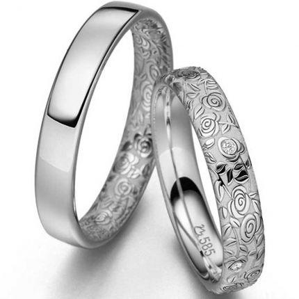 Eheringe / Partnerringe Rosengarten aus 925er Silber