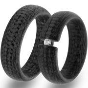 7 mm breite Hochzeitsringe aus Carbon mit Zirkonia