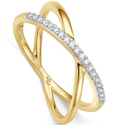 Einzigartiger Verlobungsring aus Gelbgold mit diagonalen Brillanten