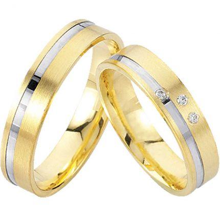 Ringpaar 99R809 aus 333er Weiß- und Gelbgold