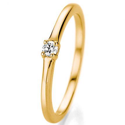 Verlobungsring Gelbgold mit einem 0,06 ct Brillanten in einer 4er Krappe