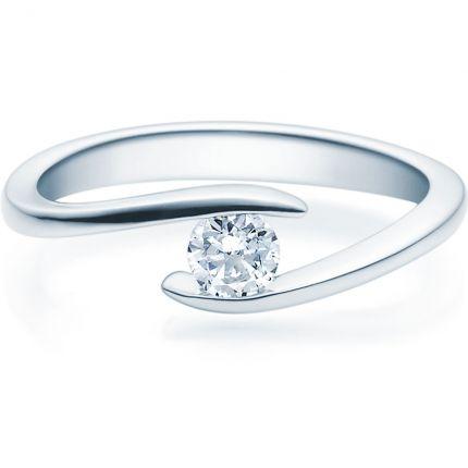 Verschlungener Verlobungsring 9918015 aus Weißgold mit Brillant