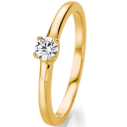 Schöner Verlobungsring mit 4er Krappe aus Gelbgold und 0,25 ct Brillant