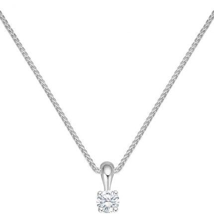 Diamant Anhänger mit 0,09 ct w/si Brillant in 4er Krappe aus 585 Weißgold mit Kette
