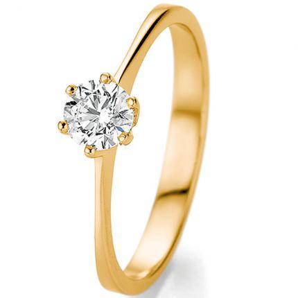 Verlobungsring Gelbgold mit einem halben Karat in 6er Krappe