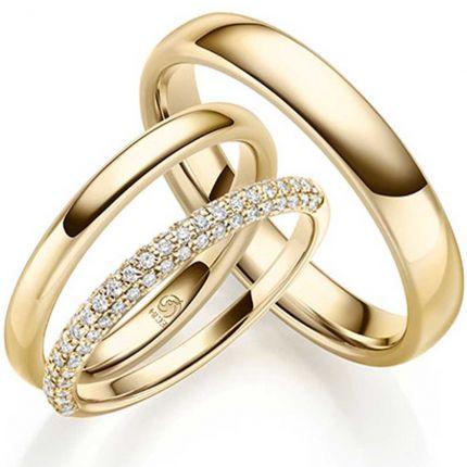 Set Trauringe mit Verlobungsring aus 750 Gelbgold
