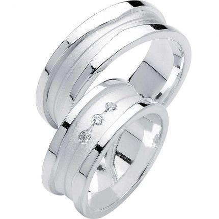 Breite Ringe aus Silber, mit asymmetrischen Rillen, wahlweise 3 Zirkonia