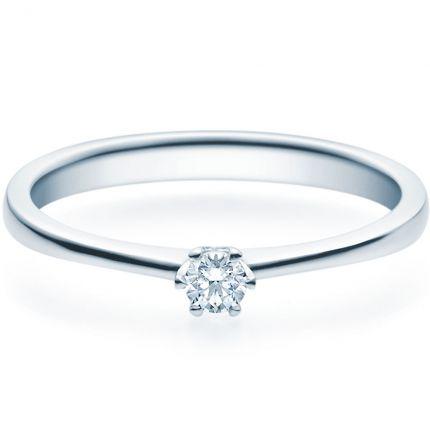 Filigraner Verlobungsring mit 6er Krappe aus Silber und 0,10 ct Brillant
