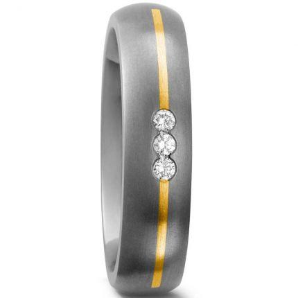 Verlobungsring aus Titan mit Gelbgold und Brillanten