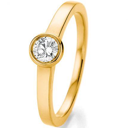 Verlobungsring Gelbgold mit Zargenfassung und einem 0,33ct großen Brillanten