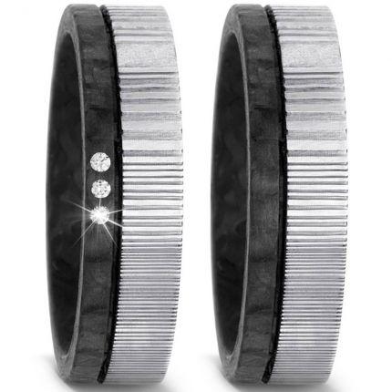 Ringpaar aus Damaszener Stahl mit Carbon