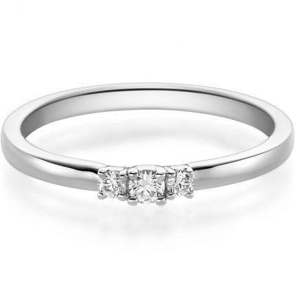 Verlobungsring aus Weißgold mit 3 Brillanten zus. 0,11 ct