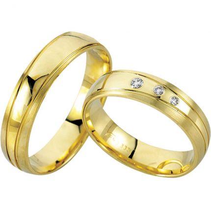 Ringpaar 99R802 aus 333er Gelbgold mit Brillanten