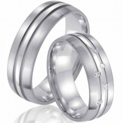 Trauringe aus Silber mit 5 Brillanten