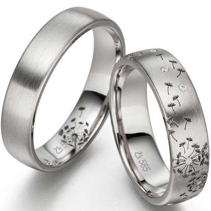 Trauringe / Partnerringe Pusteblume aus 925er Silber