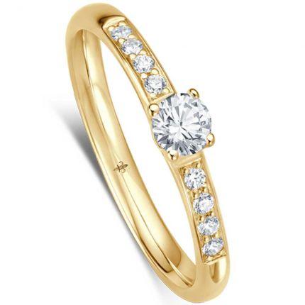 Eleganter Verlobungsring mit weißen Brillanten in edler Fassung (Gelbgold)
