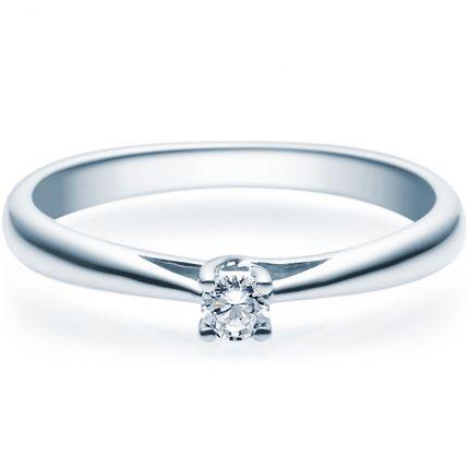 Verlobungsring aus Silber mit Brillant in 4er Krappe