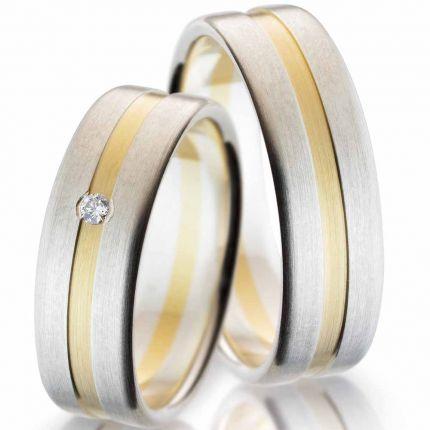 Hochzeitsringe aus Silber mit Gelbgold