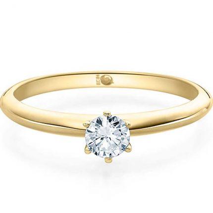Hochglänzender Verlobungsring aus Gelbdold mit 0,25 ct Diamant