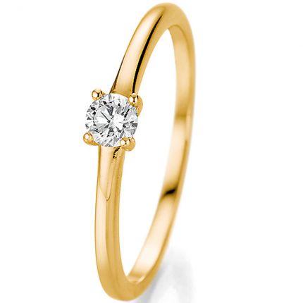 Schöner Verlobungsring aus Gelbgold mit 0,20 ct