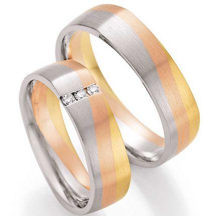 Quadratische Trauringe aus dreifarbigen Gold mit Brillanten