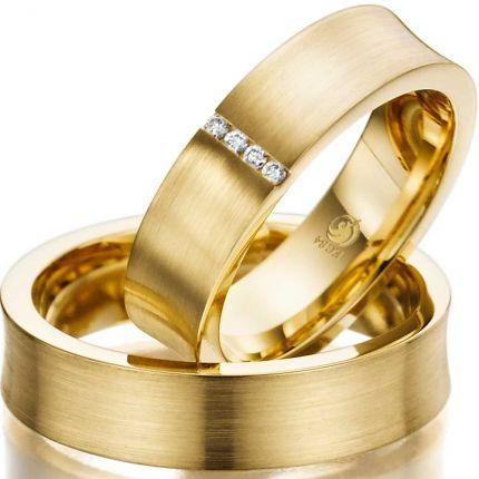 Ringe aus Gelbgold in konkavem Profil mit 4 Brillanten