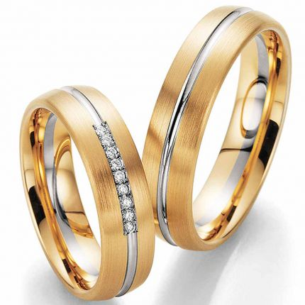 Zweifarbige Hochzeitsringe mit Brillanten im Verschnitt