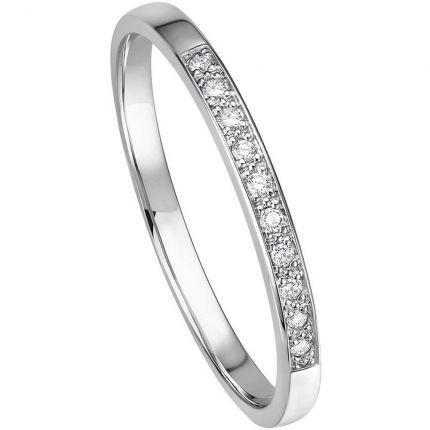Memoire-Ring aus Weißgold mit 10 Brillanten